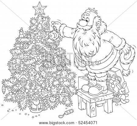 Santa decorates a Christmas tree