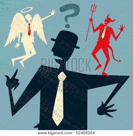 Abstract Businessman has a Moral Dilemma.
