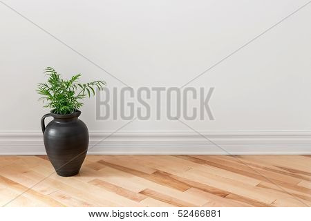 Amphora With Green Plant Decorating A Room