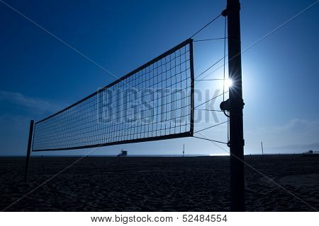 beach volleyball  volley net in Santa Monica at sunset California USA