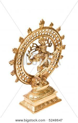Statue of indian hindu god Shiva Nataraja - Lord of Dance isolated on white poster