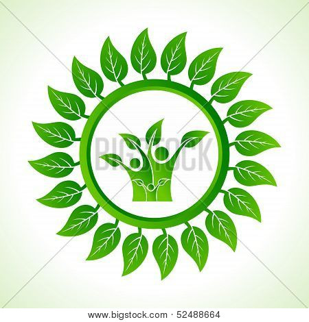 Eco family inside the leaf background stock vector