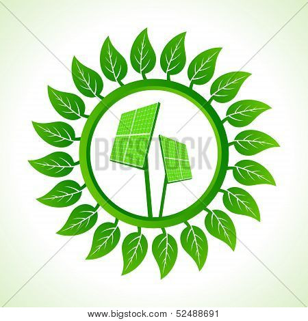 Solar pannel inside the leaf background stock vector