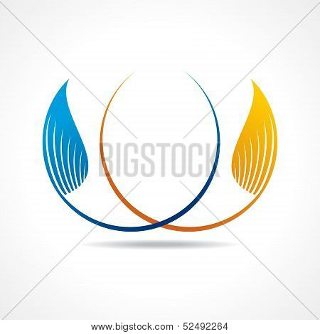 Blue and yellow leaf icon design stock vector