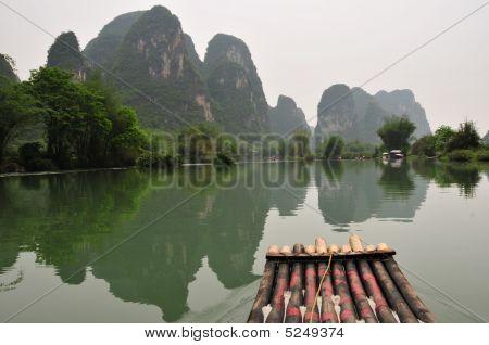Bamboo Raft On Li River Near Guiling, Guanxi Province, China