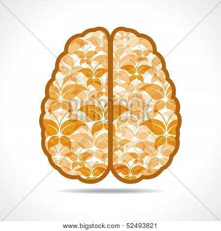 Yellow butterfly make a mind or brain stock vector