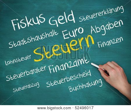 Hand holding a chalk and writing several words about tax in german on green board poster