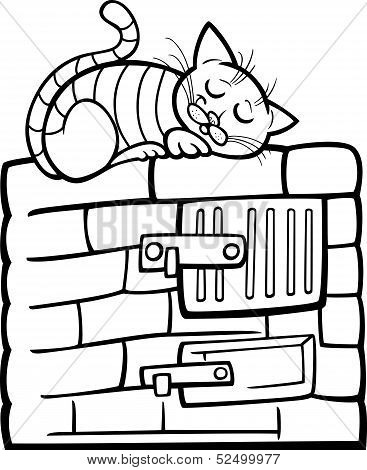 poster of Black and White Cartoon Illustration of Tabby Cat Sleeping on Stove for Coloring Book