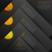 classic abstract 3d paper infographic elements with black background poster