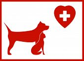 veterinary icon with pet and medical sign poster