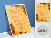 Restaurant menu card design decorated with maple leaves.  poster