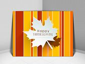 Happy Thanksgiving vintage greeting card with maple leaf design.  poster