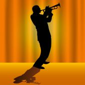 Vector illustrated silhouette of a trumpet player on stage with orange background poster