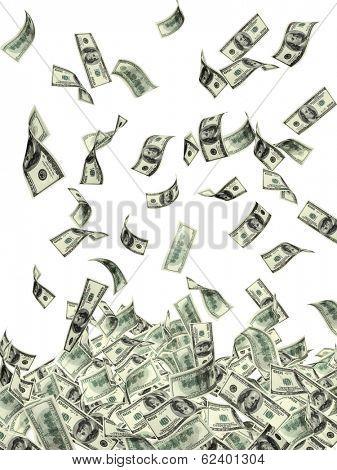 Symbol of wealth and success -  rain from dollars. Isolated on white background