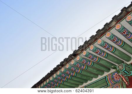 Detail Of Eaves In Gyeongbok Palace In Seoul, Korea