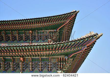Detail Of Geunjeongjeon In Gyeongbok Palace In Seoul, Korea
