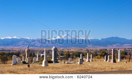 Old Graveyard With View Of Mountains