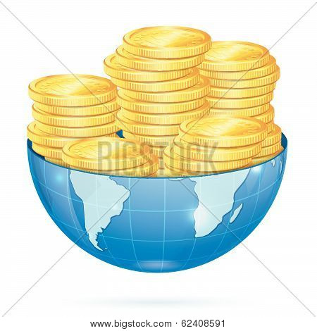Earth with Gold Coins