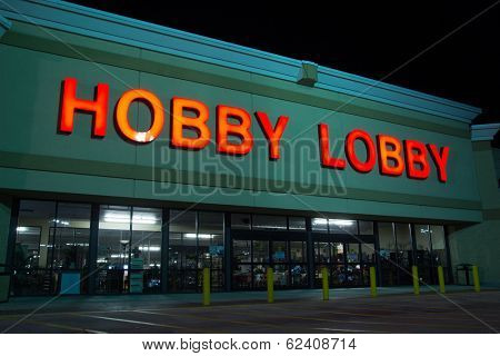 JACKSONVILLE, FL - MARCH 27, 2014: A Hobby Lobby store at night. Hobby Lobby is a retail chain of arts and crafts stores in the U.S. As of 2012, the chain has 561 stores across the U.S.A.