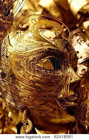 Venetiangolden Mask On Carnival In Venice
