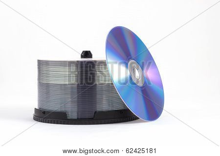 DVD stack isolated on white background.