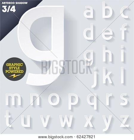 Modern flat alphabet for infographics with long ambient shadow. Vector set. Small case
