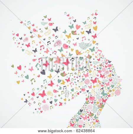 Abstract Woman Profile With Flowers Illustration