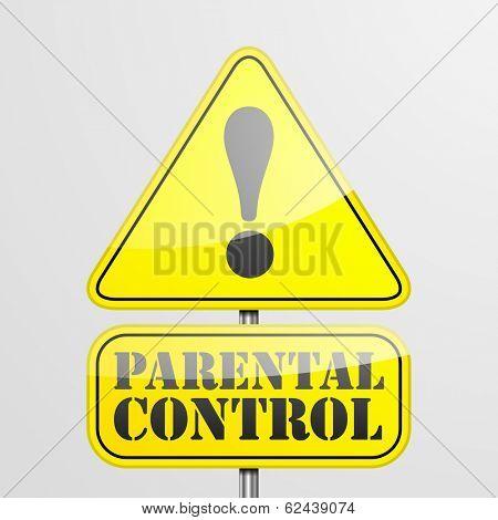 detailed illustration of a parental control warning roadsign, eps10 vector