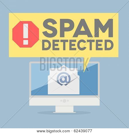 minimalistic illustration of a monitor with a spam alert speech bubble, eps10 vector