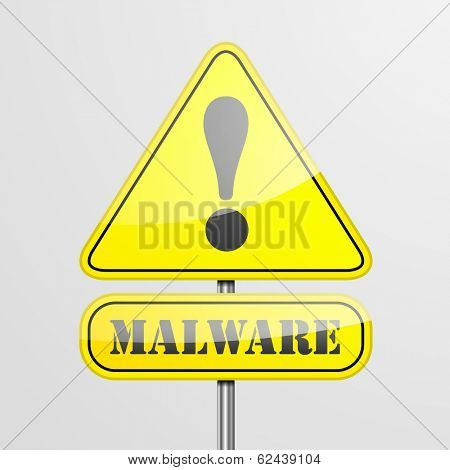detailed illustration of a malware warning roadsign, eps10 vector