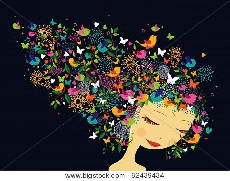 Beautiful Women Abstract Hair Illustration