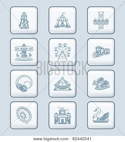 Amusement park or funfair attraction gray icon-set