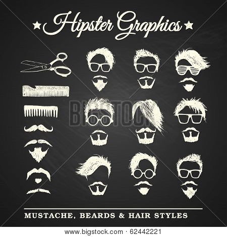Hipster graphic set with mustache beards and hair styles on chalkboard background poster