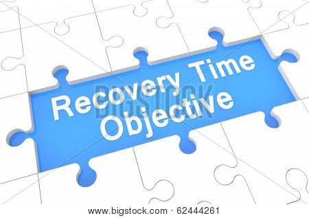 Recovery Time Objective - puzzle 3d render illustration with word on blue background poster