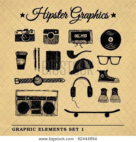Hipster Graphic Set On The Vintage Background