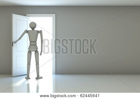 3D Businessman In White Room With Doors Open
