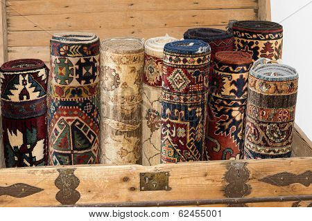 Rolled Up Turkish Carpets In A Kist