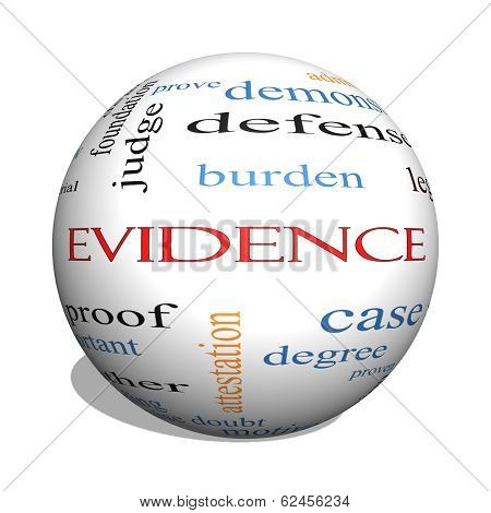 Evidence 3D Sphere Word Cloud Concept