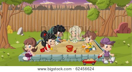 Cute happy cartoon kids playing in sandbox on the backyard