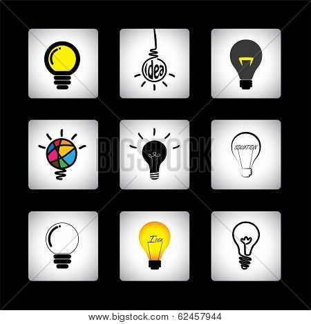 Vector Icons Set Of Different Idea Light Bulbs On Black Background