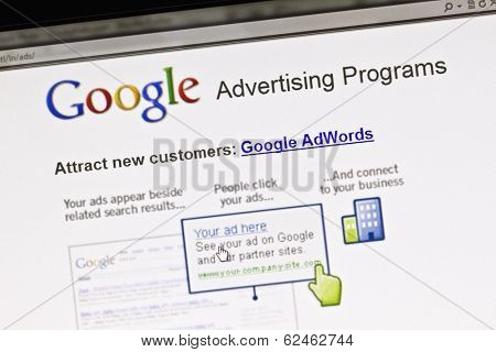 Ostersund, Sweden - August 14, 2011: Close up of Google's Advertising Program on a computer screen. It allows users to buy advertising on Google's search engine through its AdWords program.