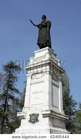 Imposing Statue Of The Famous Poet Virgil In The Center In The City Of Mantua