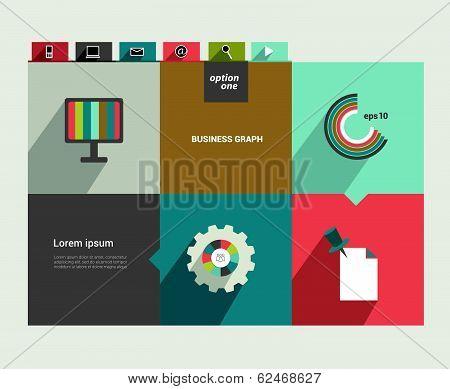 Modern flat website template. Colorful minimalistic option banner. Vector illustration. Box diagram.