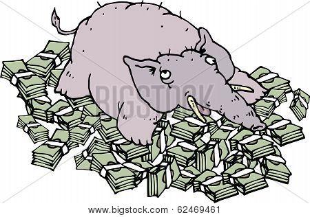 Rich Elephant Lying On Money