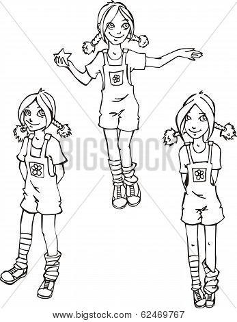 Set Of Mischievous Girls
