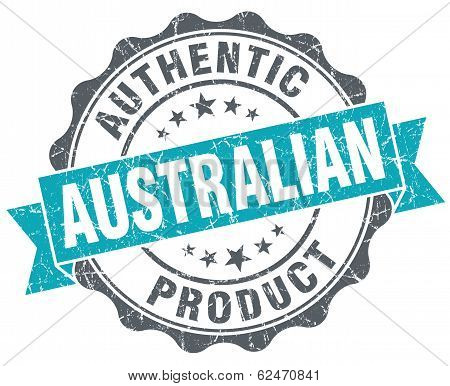 Australian Product Blue Grunge Retro Style Isolated Seal