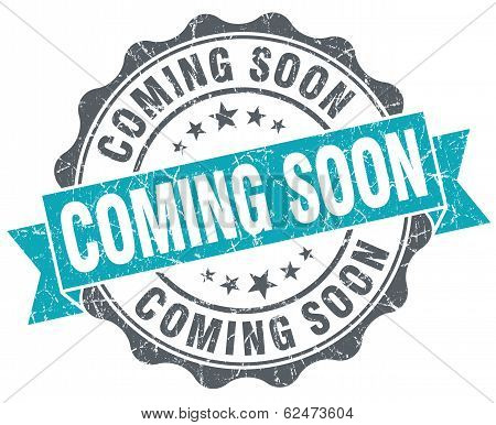 Coming Soon Blue Grunge Retro Style Isolated Seal