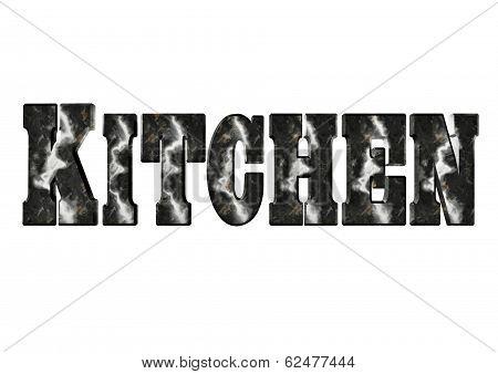 Kitchen Word Art In Dark Marble With White Veins