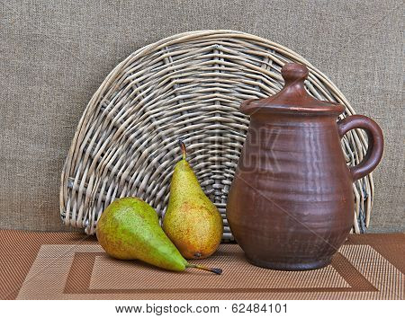 Pottery And Two Pears Still Life