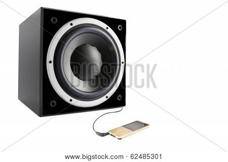 Black Subwoofer And Mp4 Player
